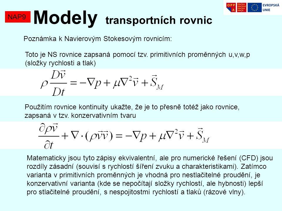 NAP9 Modely transportních rovnic Poznámka k Navierovým Stokesovým rovnicím: Toto je NS rovnice zapsaná pomocí tzv.