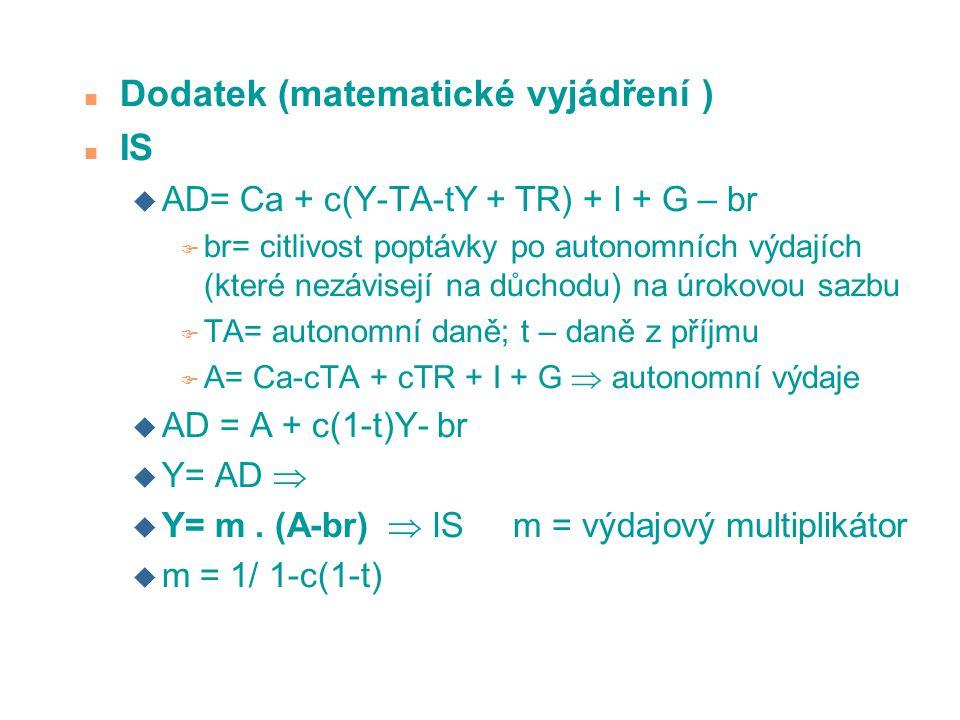 n Dodatek (matematické vyjádření ) n IS u AD= Ca + c(Y-TA-tY + TR) + I + G – br F br= citlivost poptávky po autonomních výdajích (které nezávisejí na