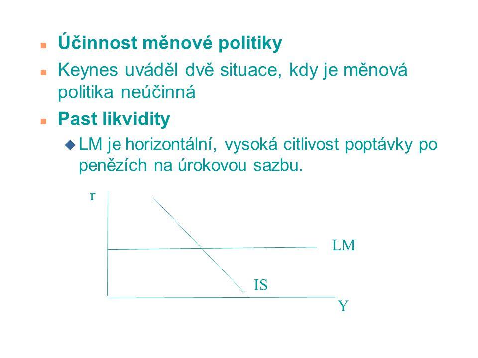 n Účinnost měnové politiky n Keynes uváděl dvě situace, kdy je měnová politika neúčinná n Past likvidity u LM je horizontální, vysoká citlivost poptáv