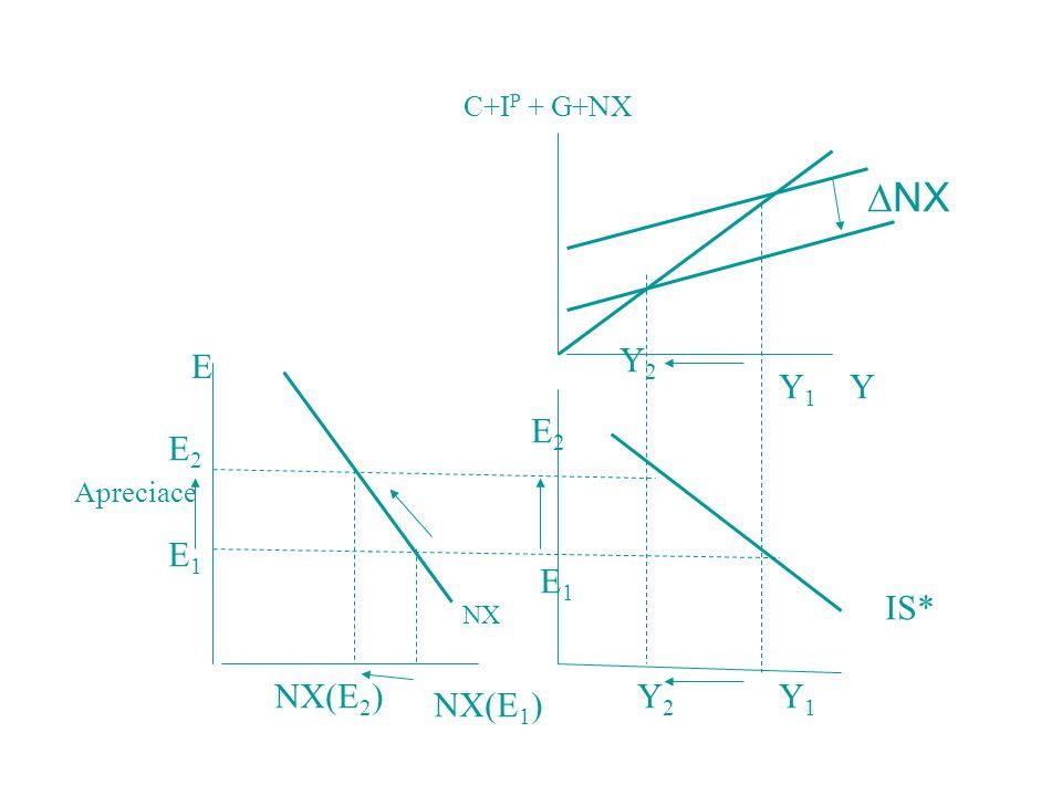 E1E1 E2E2 NX(E 1 ) NX(E 2 ) NX E1E1 E2E2 YY1Y1 Y2Y2  NX IS* Y1Y1 Y2Y2 E Apreciace C+I P + G+NX