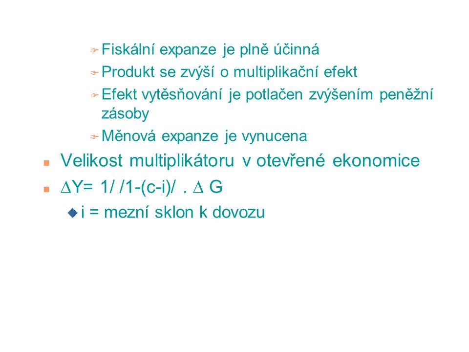 F Fiskální expanze je plně účinná F Produkt se zvýší o multiplikační efekt F Efekt vytěsňování je potlačen zvýšením peněžní zásoby F Měnová expanze je