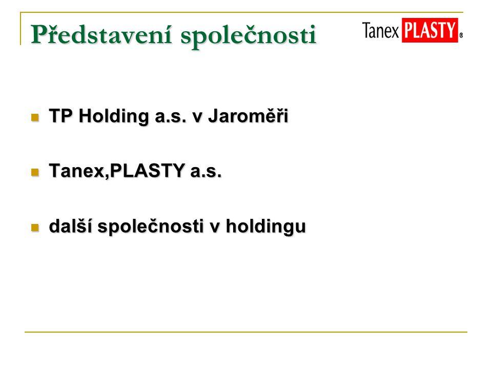 Představení společnosti TP Holding a.s. v Jaroměři TP Holding a.s. v Jaroměři Tanex,PLASTY a.s. Tanex,PLASTY a.s. další společnosti v holdingu další s