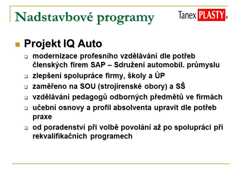 Nadstavbové programy Projekt IQ Auto Projekt IQ Auto  modernizace profesního vzdělávání dle potřeb členských firem SAP – Sdružení automobil. průmyslu