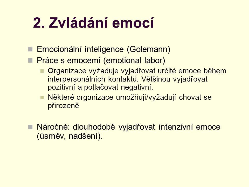 2. Zvládání emocí Emocionální inteligence (Golemann) Práce s emocemi (emotional labor) Organizace vyžaduje vyjadřovat určité emoce během interpersonál