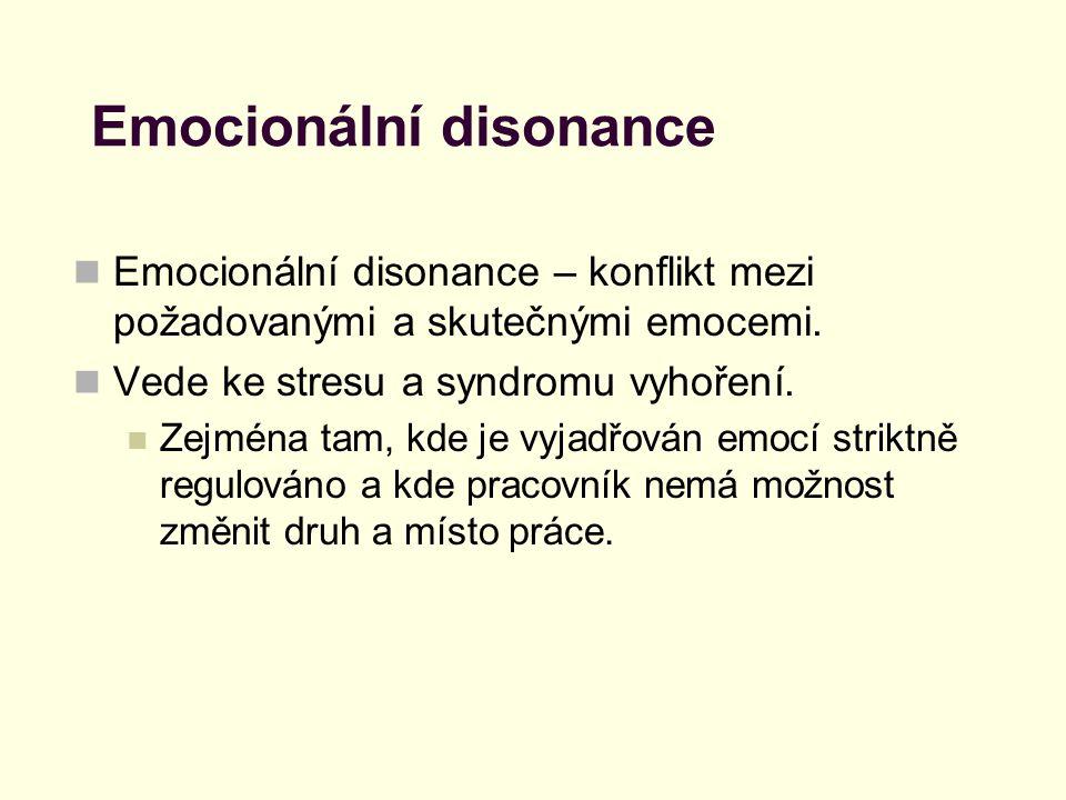 Emocionální disonance Emocionální disonance – konflikt mezi požadovanými a skutečnými emocemi. Vede ke stresu a syndromu vyhoření. Zejména tam, kde je