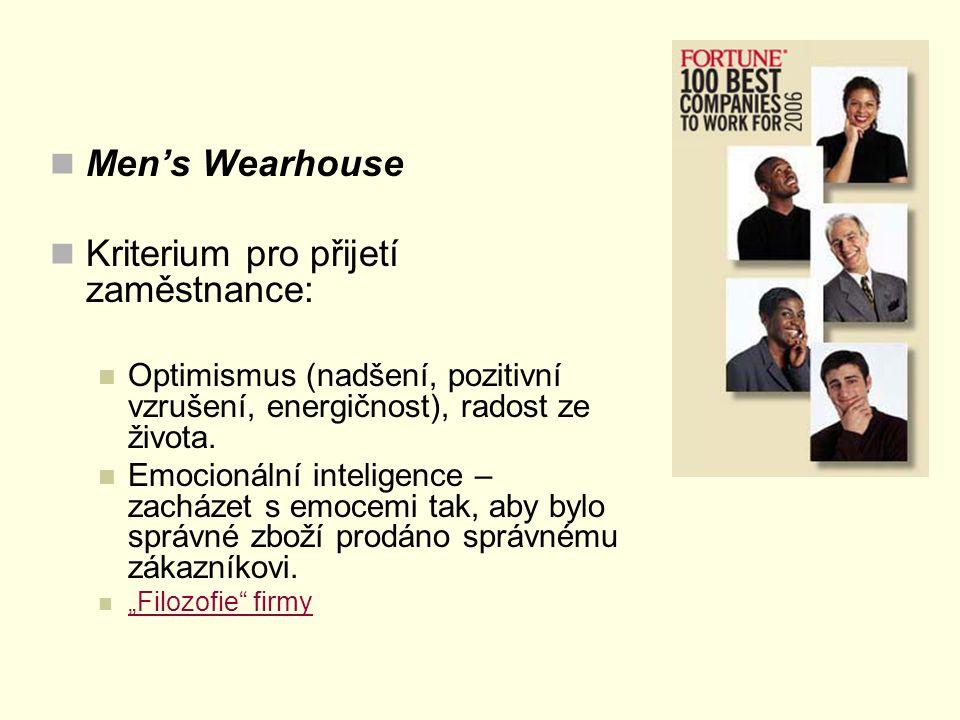 Men's Wearhouse Kriterium pro přijetí zaměstnance: Optimismus (nadšení, pozitivní vzrušení, energičnost), radost ze života. Emocionální inteligence –