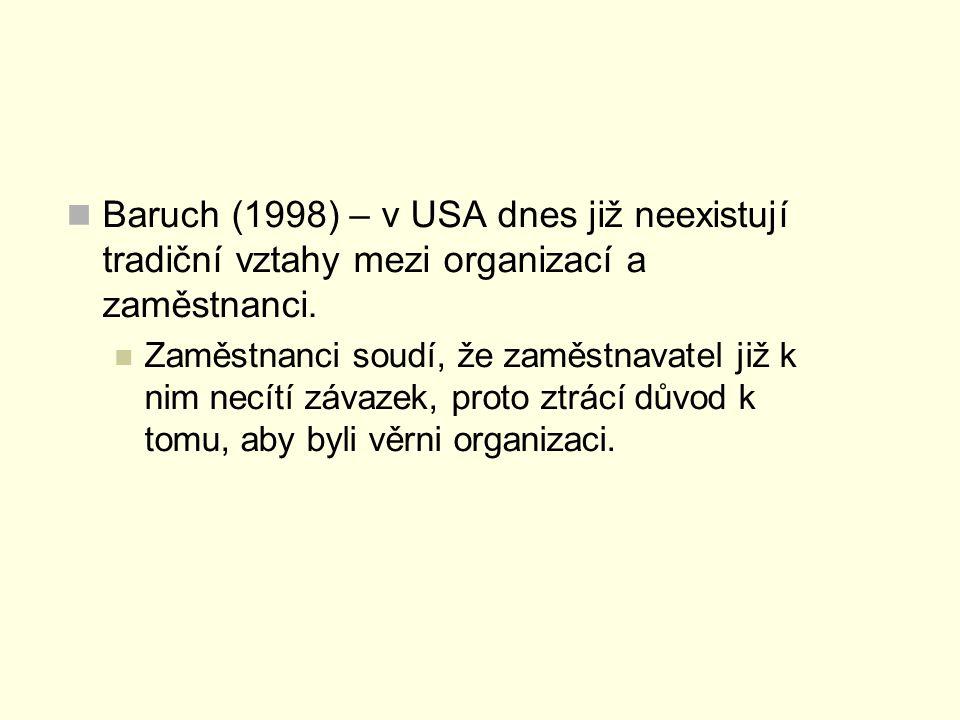 Baruch (1998) – v USA dnes již neexistují tradiční vztahy mezi organizací a zaměstnanci. Zaměstnanci soudí, že zaměstnavatel již k nim necítí závazek,