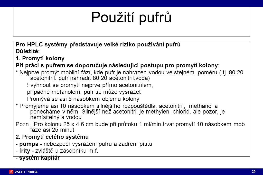 30 VŠCHT PRAHA Použití pufrů Pro HPLC systémy představuje velké riziko používání pufrů Důležité: 1. Promytí kolony Při práci s pufrem se doporučuje ná