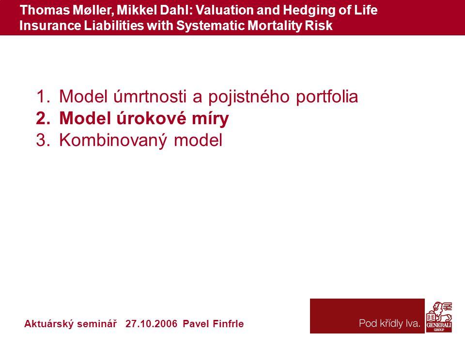 Thomas Møller, Mikkel Dahl: Valuation and Hedging of Life Insurance Liabilities with Systematic Mortality Risk 1.Model úmrtnosti a pojistného portfoli
