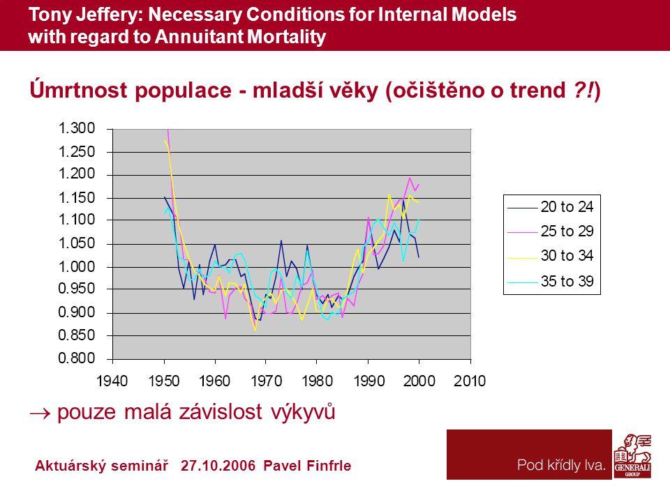 Tony Jeffery: Necessary Conditions for Internal Models with regard to Annuitant Mortality Aktuárský seminář 27.10.2006 Pavel Finfrle Úmrtnost populace