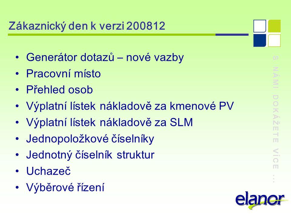 S NÁMI DOKÁŽETE VÍCE... Zákaznický den k verzi 200812 Generátor dotazů – Pracovní místo