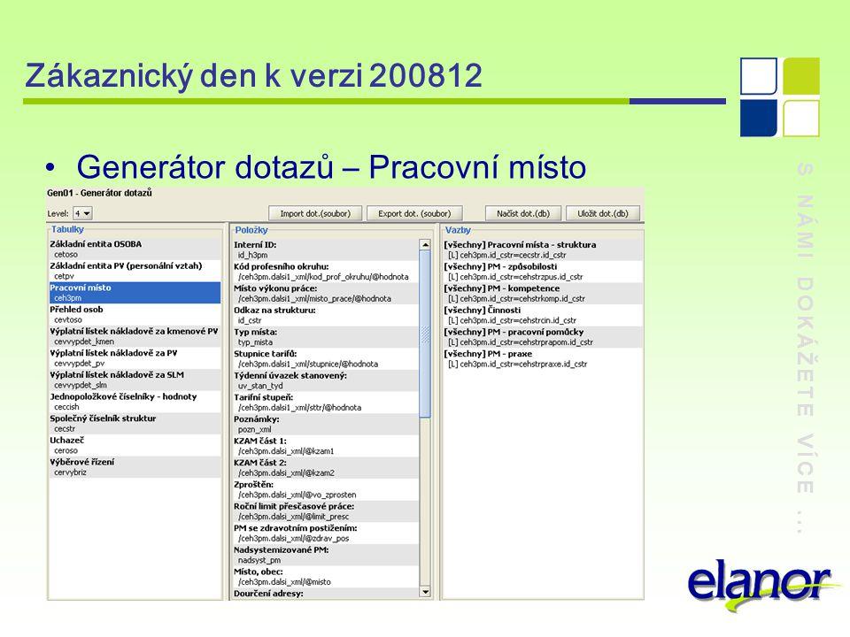 S NÁMI DOKÁŽETE VÍCE... Zákaznický den k verzi 200812 Generátor dotazů – Přehled osob