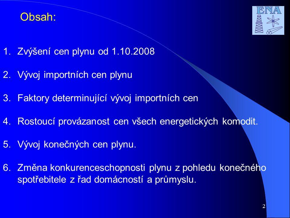2 Obsah: 1.Zvýšení cen plynu od 1.10.2008 2.Vývoj importních cen plynu 3.Faktory determinující vývoj importních cen 4.Rostoucí provázanost cen všech energetických komodit.