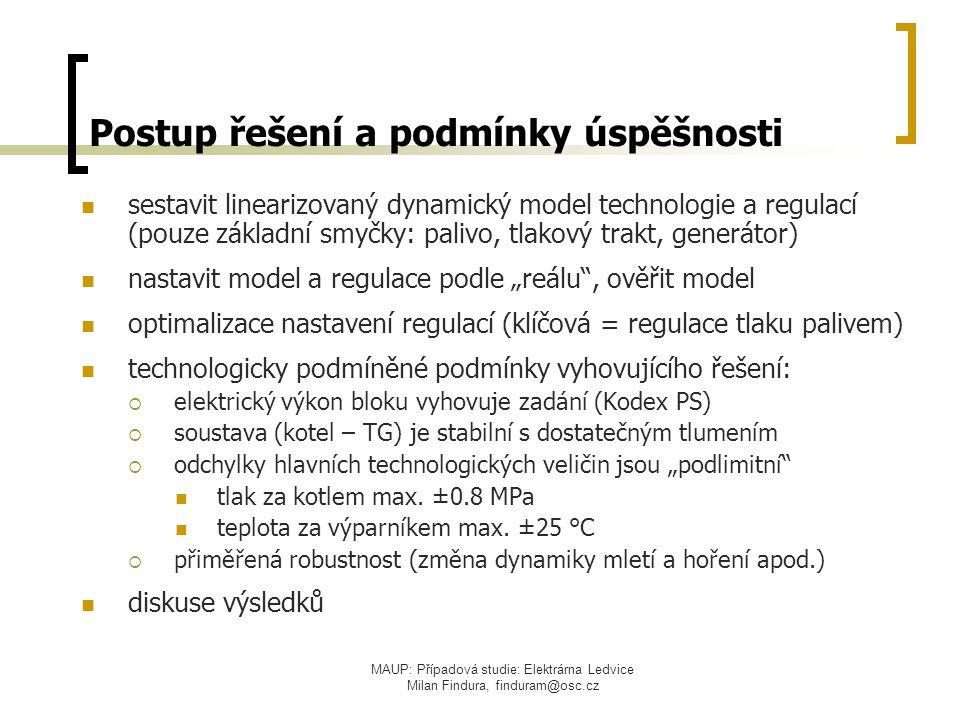 MAUP: Případová studie: Elektrárna Ledvice Milan Findura, finduram@osc.cz Postup řešení a podmínky úspěšnosti sestavit linearizovaný dynamický model t