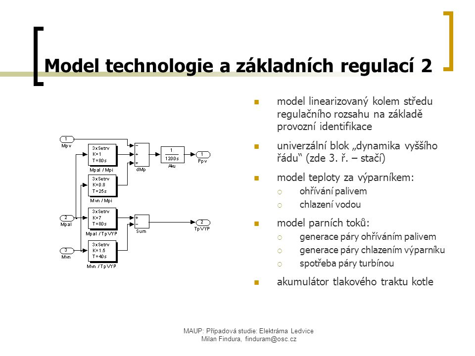 MAUP: Případová studie: Elektrárna Ledvice Milan Findura, finduram@osc.cz Model technologie a základních regulací 2 model linearizovaný kolem středu r