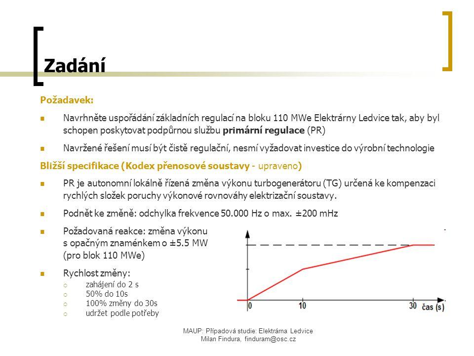 MAUP: Případová studie: Elektrárna Ledvice Milan Findura, finduram@osc.cz Zadání Požadavek: Navrhněte uspořádání základních regulací na bloku 110 MWe