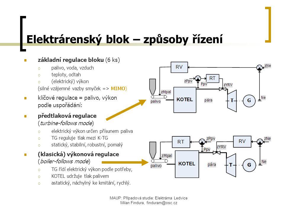 MAUP: Případová studie: Elektrárna Ledvice Milan Findura, finduram@osc.cz Elektrárenský blok – způsoby řízení základní regulace bloku (6 ks)  palivo,