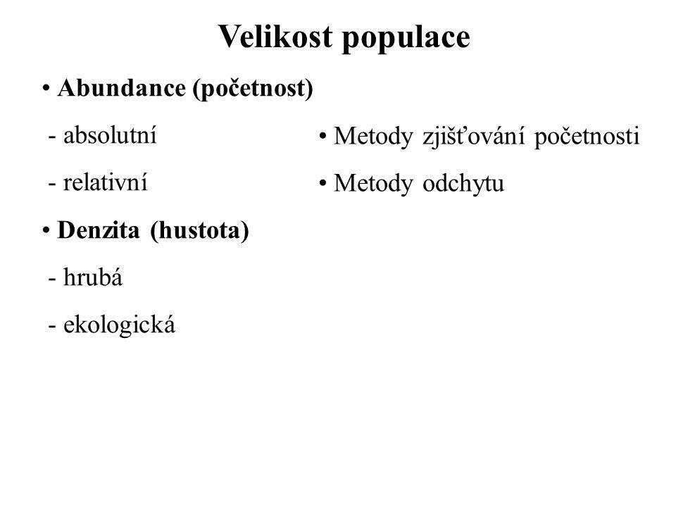 Velikost populace Biomasa - živí jedinci - sušina - nějaká látka - energie - nadzemní, podzemní Pokryvnost Braun-Blanquetova stupnice r – velmi vzácný, velmi malá pokryvnost + – vzácný, malá pokryvnost 1 – početný, pokryvnost do 5 % 2 – 5-25 % 3 – 25-50 % 4 – 50-75 % 5 – 75-100 % Alleeho princip