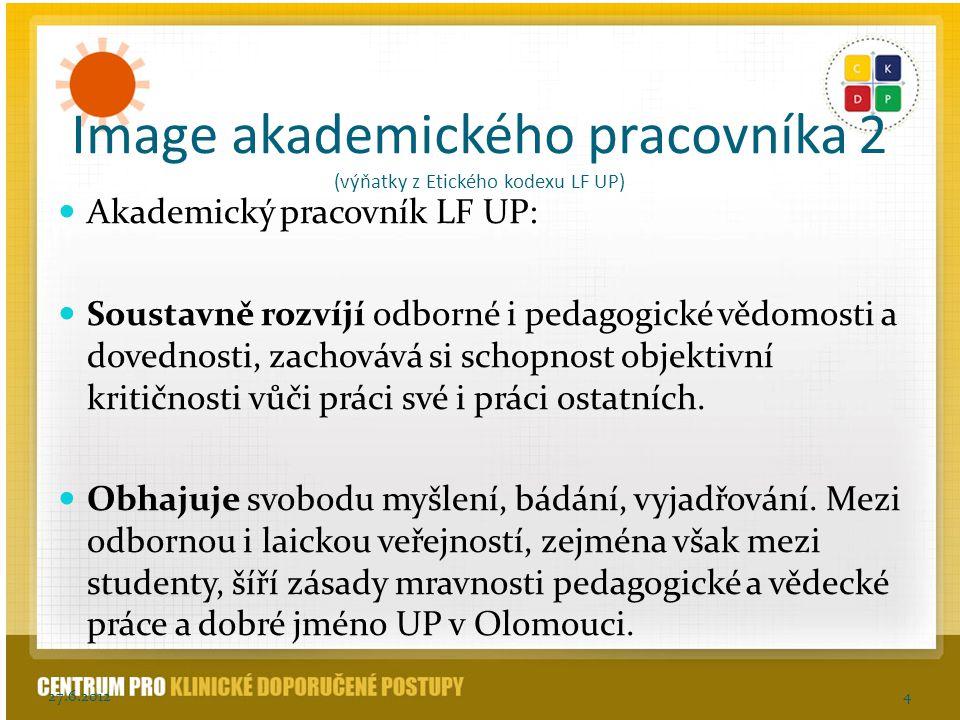 Image akademického pracovníka 2 (výňatky z Etického kodexu LF UP) Akademický pracovník LF UP: Soustavně rozvíjí odborné i pedagogické vědomosti a dove