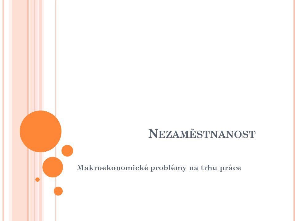 N EZAMĚSTNANOST Makroekonomické problémy na trhu práce