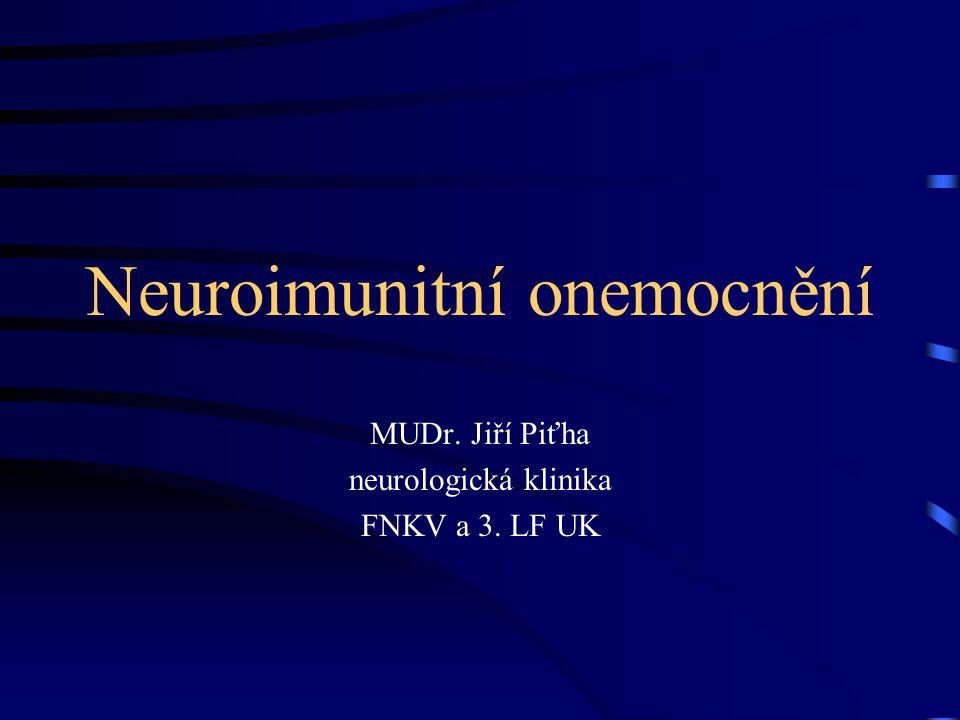 Neuroimunologie hraniční obor, zabývající se vztahem mezi nervovým a imunitním systémem za fyziologických a patologických podmínek vzájemný vztah: společné receptory produkce neuromediátorů, cytokinů, inervace imunitních orgánů….