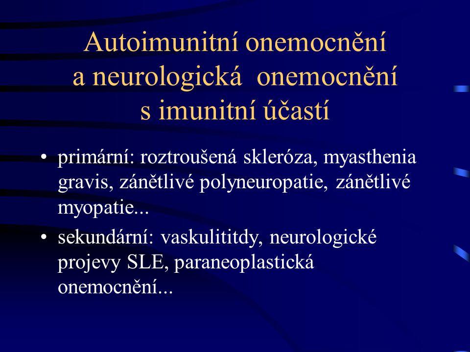 """Roztroušená skleróza mozkomíšní (RS) chronické neurologické onemocnění s autoimunitní účastí (autoimunitní zánět - demyelinizace, leze oligodendrocytů + axonální leze) nejčastější invalidizující onemocnění z neurologických příčin u mladších pacientů obrovský pokrok v poznání imunopatogeneze a ověření účinků """"DMD terapie v kontrovaných studiích i v praxi"""