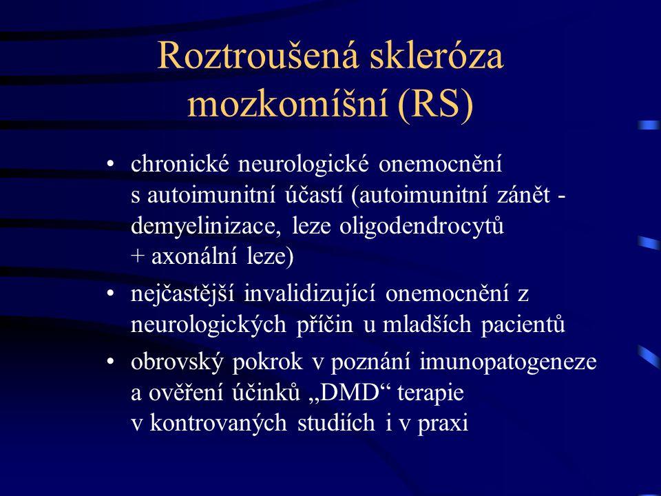 Epidemiologie RS nejobvyklejší začátek nemoci mezi 20-30 lety převaha žen k mužům cca 2:1 prevalence v ČR cca 100/100 000 obyvatel (ve skutečnosti nepochybně preval.