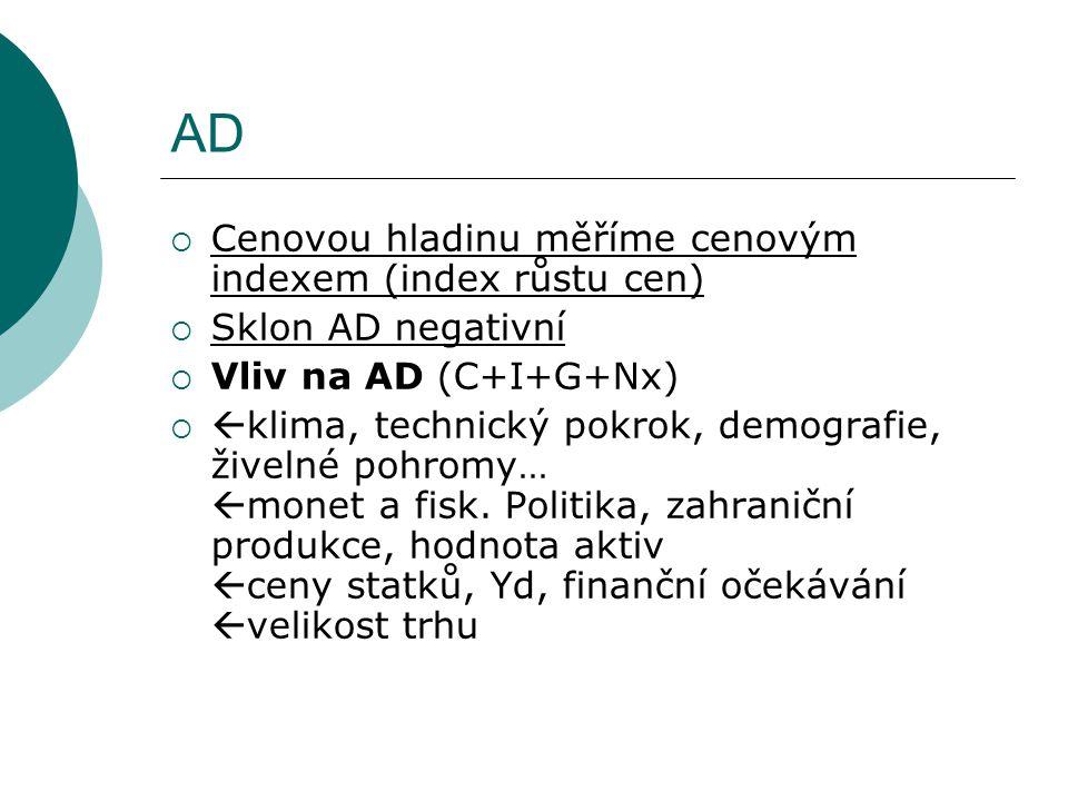 AD  Cenovou hladinu měříme cenovým indexem (index růstu cen)  Sklon AD negativní  Vliv na AD (C+I+G+Nx)   klima, technický pokrok, demografie, ži