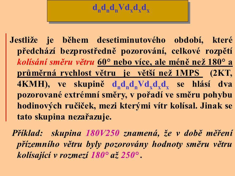 V případě proměnlivého směru větru se kóduje ddd jako VRB když je průměrná rychlost větru 1MPS (2KT, 4KMH) nebo méně. Při vyšších rychlostech se může