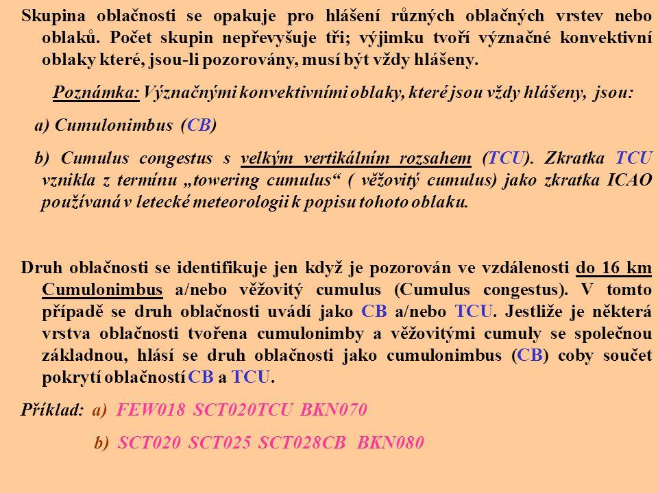 N S N S N S h S h S h S (cc) nebo VV h S h S h S nebo NSC nebo NCD Množství oblačnosti N S N S N S se hlásí pomocí třípísmenných zkratek: FEW skoro ja