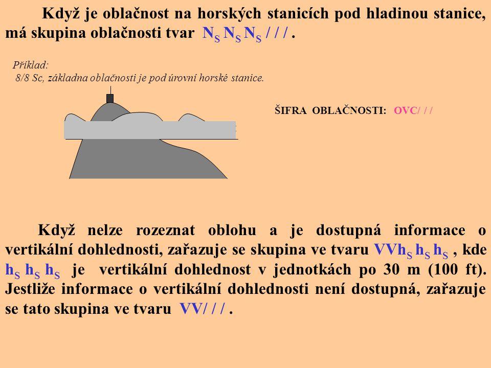 Určování výšky základny oblačnosti Výška základny oblačné vrstvy (oblaků) h S h S h S se hlásí po 30-ti m (100 ft) v krocích po 30 m ( 100 ft) do výšk