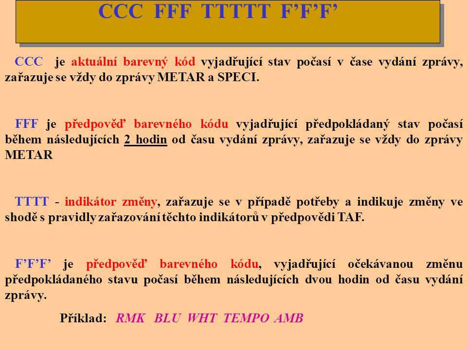 FVV F V F V F V F /D V D V FVV F V F V F V F /D V D V V případě získání věrohodné informace o šikmé letové dohlednosti kóduje se tato v sekci RMK. Nen