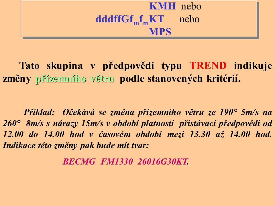 TTGGgg období čas Skupina TTGGgg vyjadřuje období, během kterého, nebo čas, ve kterém je výskyt změny předpovídán. TT se indikuje pomocí zkratek : FM