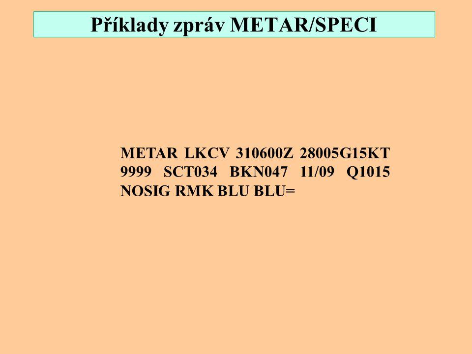 Příklady zpráv METAR/SPECI SPECI LKPR 030014Z 34017KT 5000 -RASN OVC003 M00/M00 Q1019 06590326 13690438 RMK REG QNH 1013=