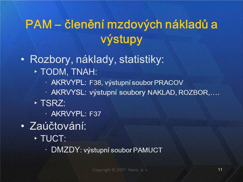 11 PAM – členění mzdových nákladů a výstupy Rozbory, náklady, statistiky: ▸TODM, TNAH: ‧AKRVYPL: F38, výstupní soubor PRACOV ‧AKRVYSL: výstupní soubor