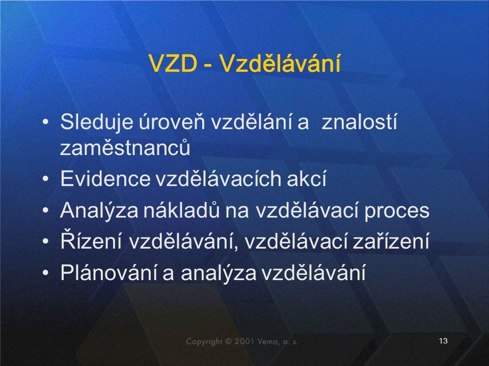 13 VZD - Vzdělávání Sleduje úroveň vzdělání a znalostí zaměstnanců Evidence vzdělávacích akcí Analýza nákladů na vzdělávací proces Řízení vzdělávání,