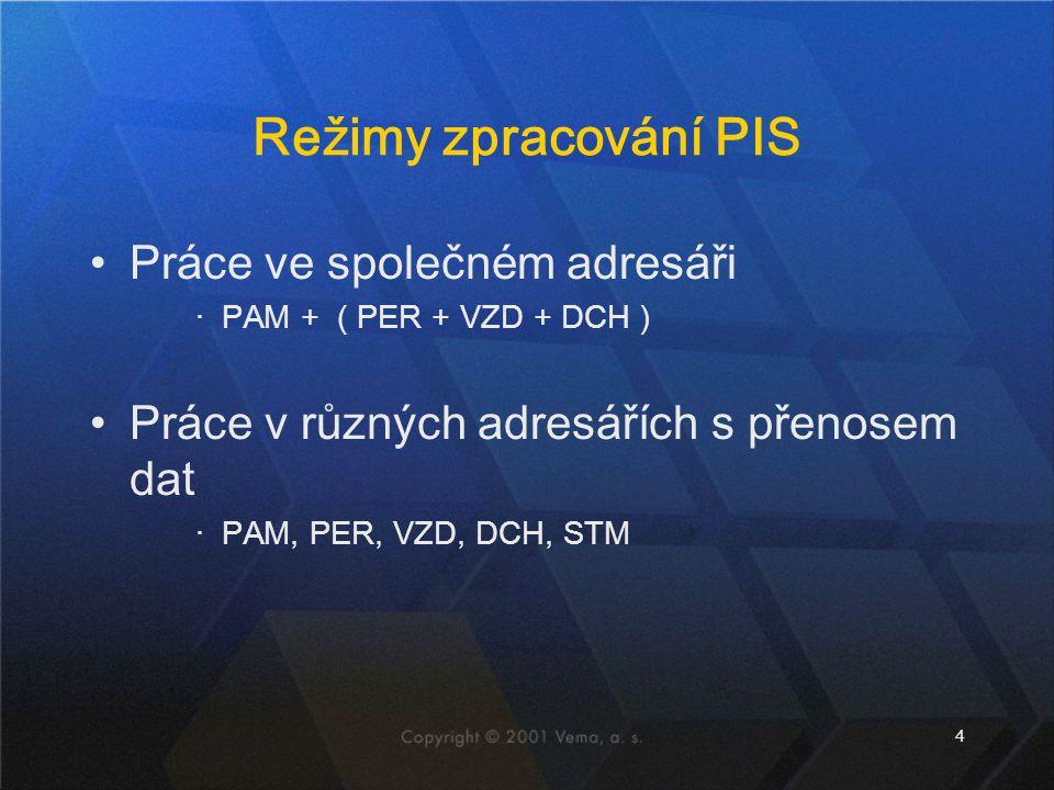 4 Režimy zpracování PIS Práce ve společném adresáři ‧PAM + ( PER + VZD + DCH ) Práce v různých adresářích s přenosem dat ‧PAM, PER, VZD, DCH, STM
