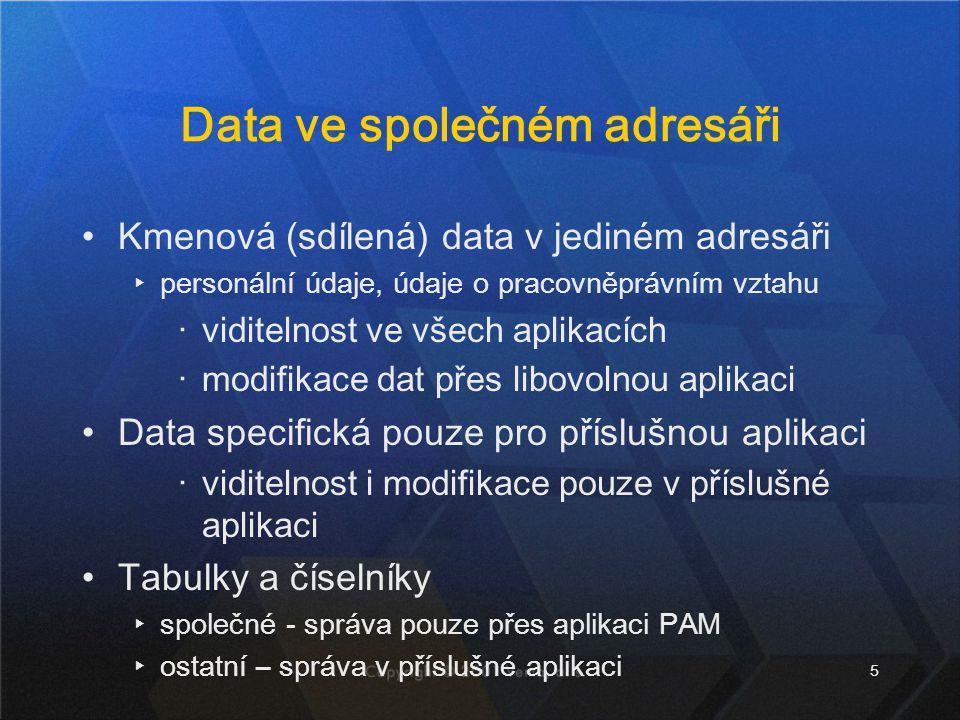 5 Data ve společném adresáři Kmenová (sdílená) data v jediném adresáři ▸personální údaje, údaje o pracovněprávním vztahu ‧viditelnost ve všech aplikac