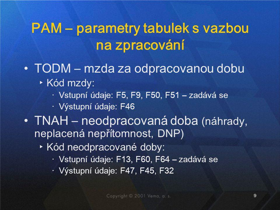 9 PAM – parametry tabulek s vazbou na zpracování TODM – mzda za odpracovanou dobu ▸Kód mzdy: ‧Vstupní údaje: F5, F9, F50, F51 – zadává se ‧Výstupní úd