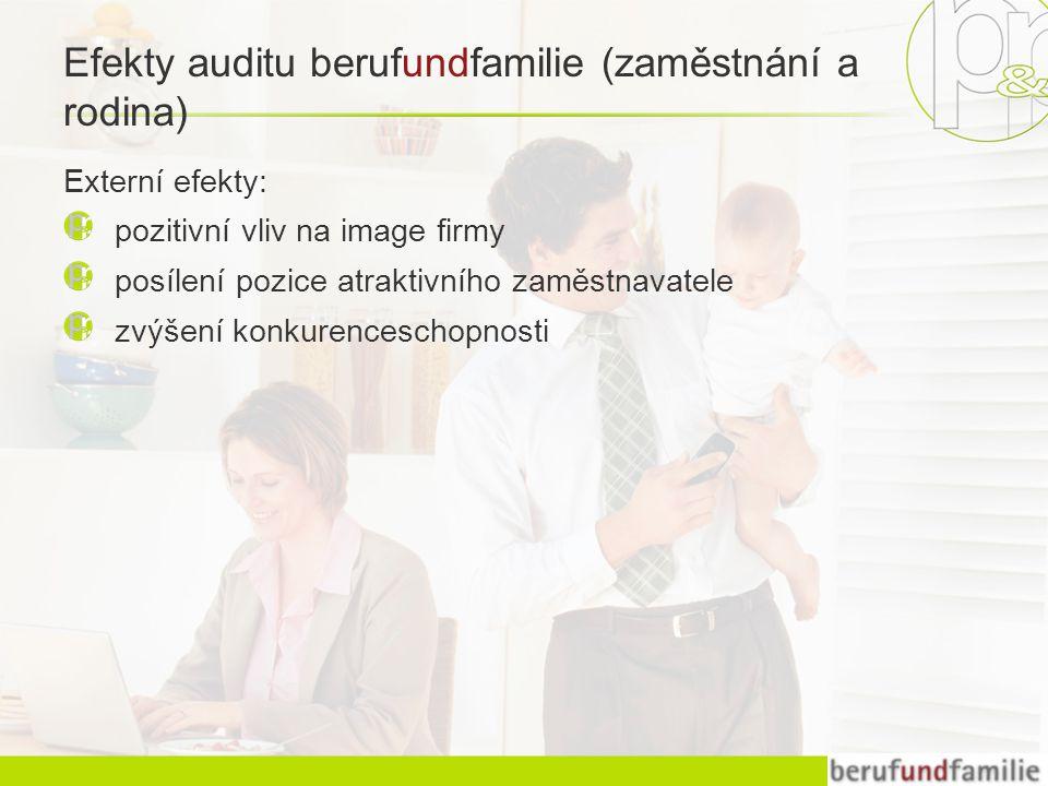 Efekty auditu berufundfamilie (zaměstnání a rodina) Externí efekty: pozitivní vliv na image firmy posílení pozice atraktivního zaměstnavatele zvýšení konkurenceschopnosti