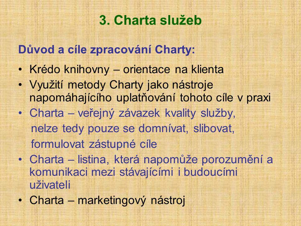 3. Charta služeb Důvod a cíle zpracování Charty: Krédo knihovny – orientace na klienta Využití metody Charty jako nástroje napomáhajícího uplatňování