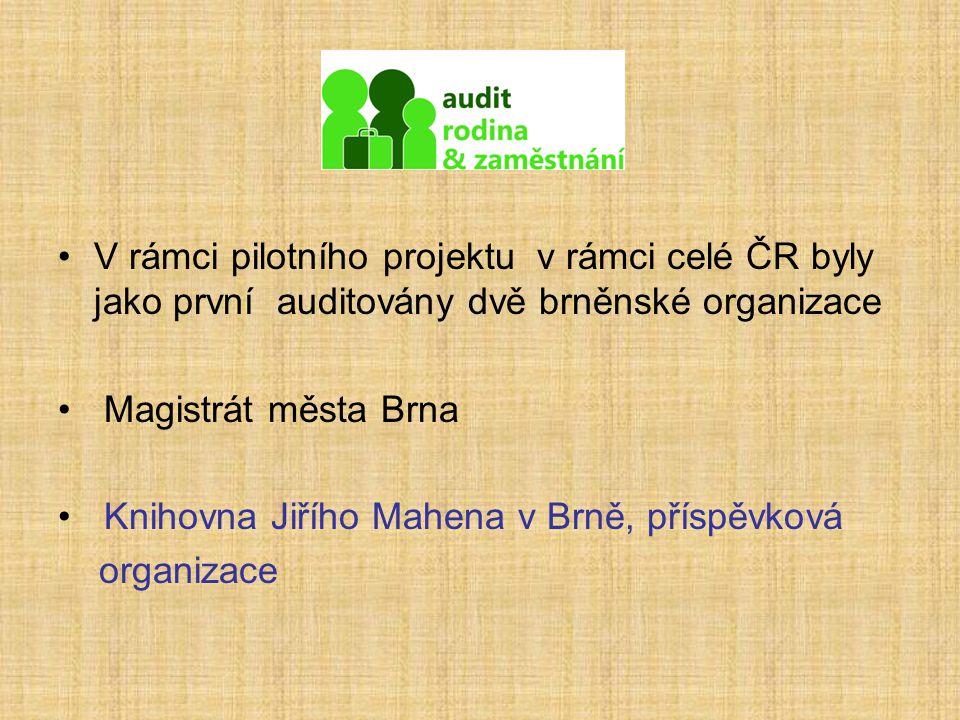 V rámci pilotního projektu v rámci celé ČR byly jako první auditovány dvě brněnské organizace Magistrát města Brna Knihovna Jiřího Mahena v Brně, přís