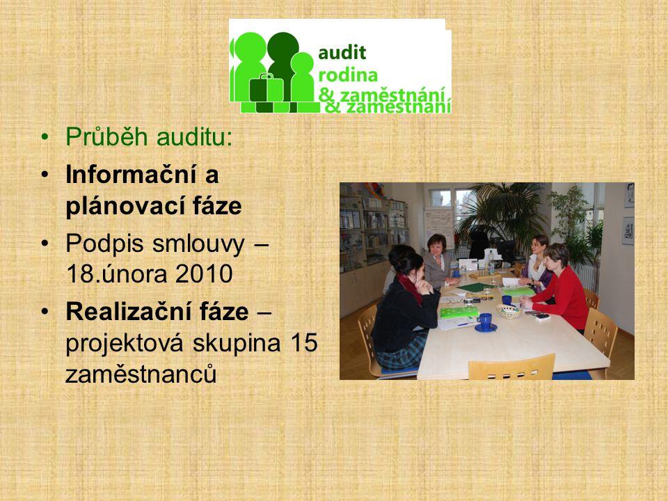 Průběh auditu: Informační a plánovací fáze Podpis smlouvy – 18.února 2010 Realizační fáze – projektová skupina 15 zaměstnanců