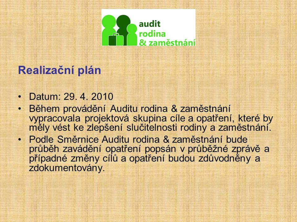 Realizační plán Datum: 29. 4. 2010 Během provádění Auditu rodina & zaměstnání vypracovala projektová skupina cíle a opatření, které by měly vést ke zl
