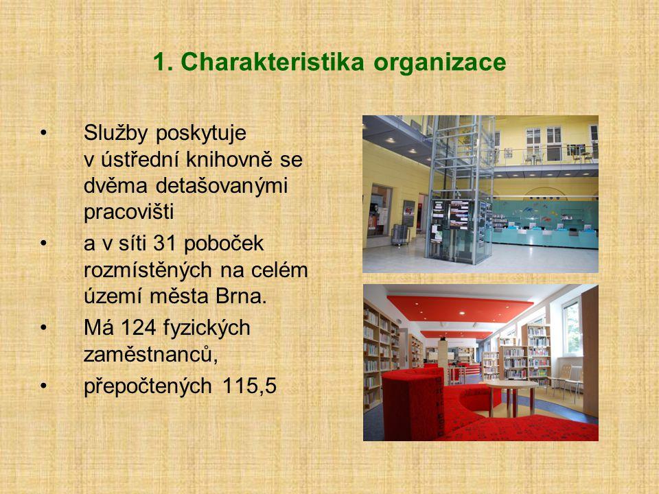 1. Charakteristika organizace Služby poskytuje v ústřední knihovně se dvěma detašovanými pracovišti a v síti 31 poboček rozmístěných na celém území mě