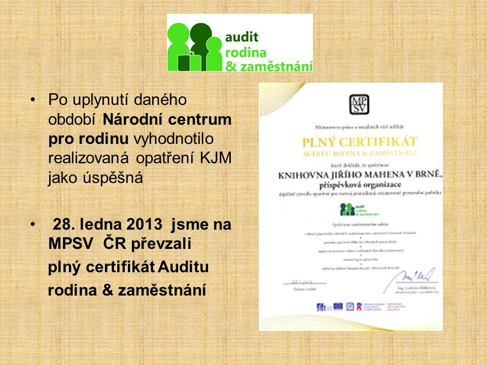 Po uplynutí daného období Národní centrum pro rodinu vyhodnotilo realizovaná opatření KJM jako úspěšná 28. ledna 2013 jsme na MPSV ČR převzali plný ce