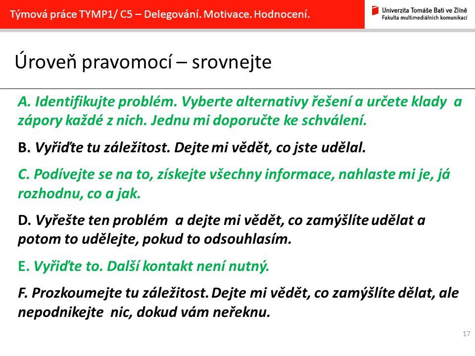 17 Úroveň pravomocí – srovnejte Týmová práce TYMP1/ C5 – Delegování.