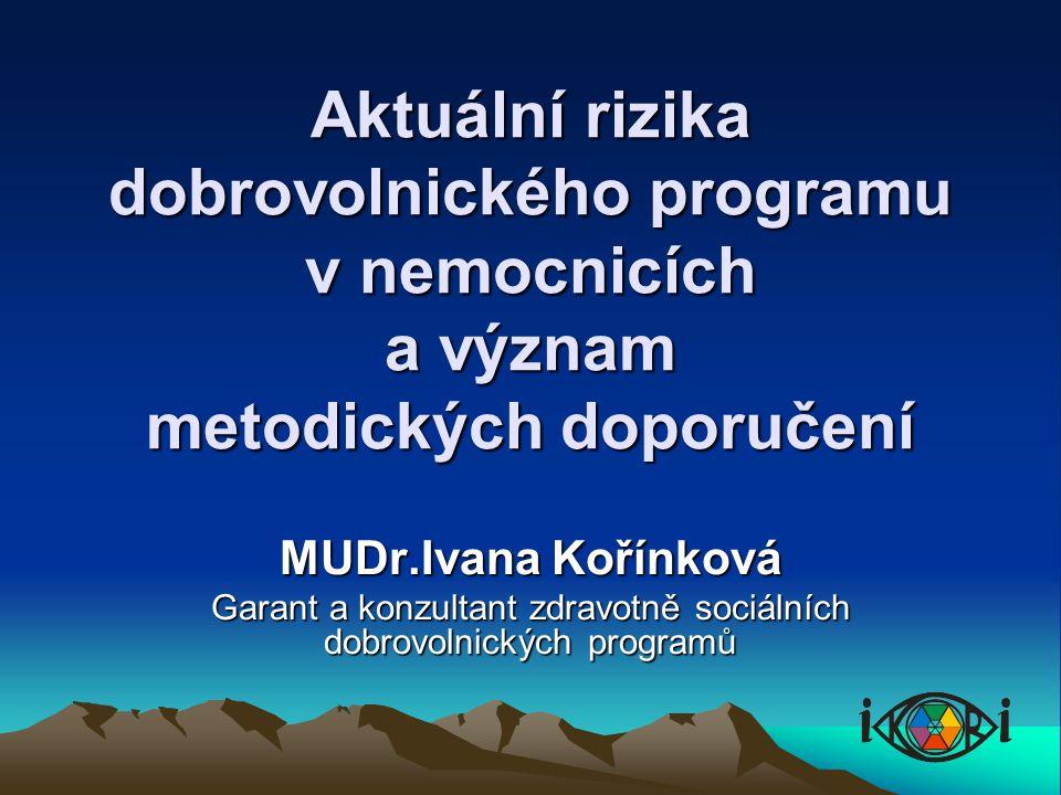 Aktuální rizika dobrovolnického programu v nemocnicích a význam metodických doporučení MUDr.Ivana Kořínková Garant a konzultant zdravotně sociálních dobrovolnických programů