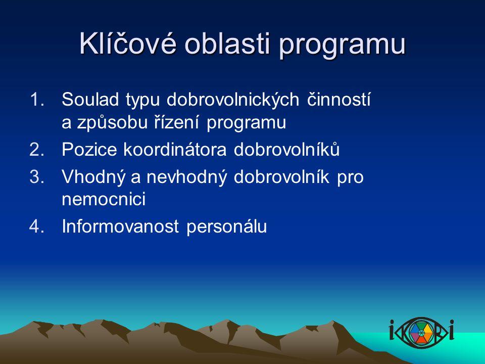 Klíčové oblasti programu 1.Soulad typu dobrovolnických činností a způsobu řízení programu 2.Pozice koordinátora dobrovolníků 3.Vhodný a nevhodný dobrovolník pro nemocnici 4.Informovanost personálu