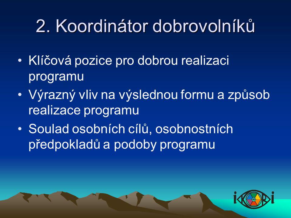 2. Koordinátor dobrovolníků Klíčová pozice pro dobrou realizaci programu Výrazný vliv na výslednou formu a způsob realizace programu Soulad osobních c